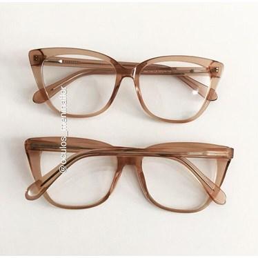 Armação de óculos de grau - Maud - Dourado transparente