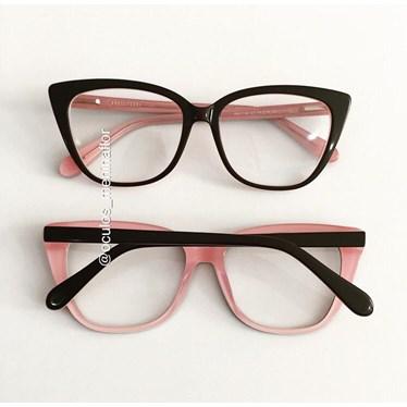 Armação de óculos de grau - Maud - Preto fundo rosa