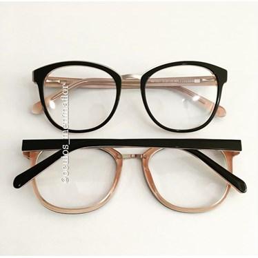 Armação de óculos de grau - Megan - Preto fundo bege