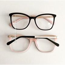 Armação de óculos de grau - Megan Two - Preto fundo rosa