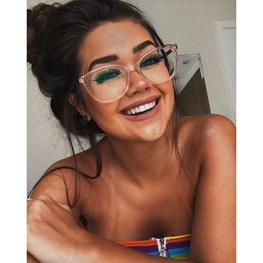 Armação de óculos de grau - Mel - Dourado Transparente