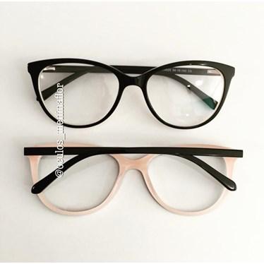 Armação de óculos de grau - Mel - Preto fundo rosa