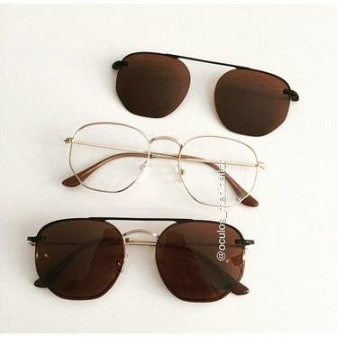 Armação de óculos de grau - Melanie - Dourado lente marrom