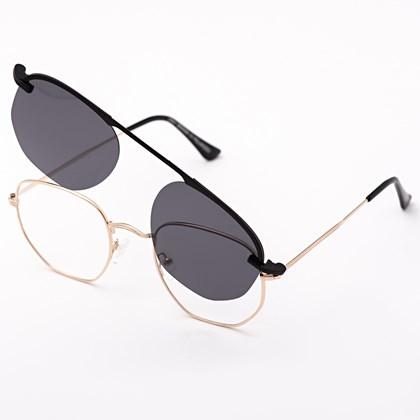 Armação de óculos de grau - Melanie - Dourado lente preta