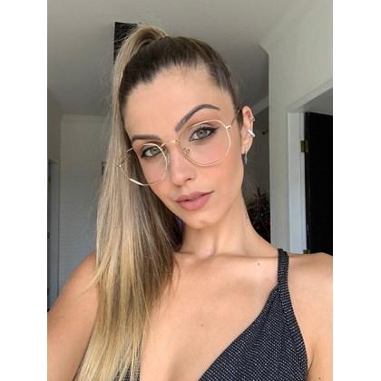 Armação de óculos de grau - Melanie Two - Dourado lente marrom