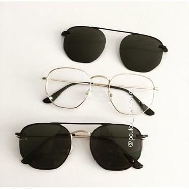 Armação de óculos de grau - Melanie Two - Dourado lente preta