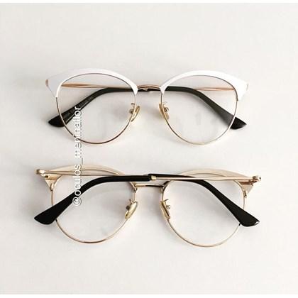 Armação de óculos de grau - Melissa Round 8008 - Branco com dourado
