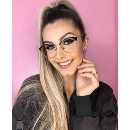 Armação de óculos de grau - Melissa Round 8008 - Preto com dourado