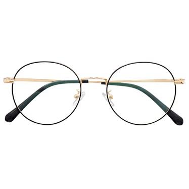 Armação de óculos de grau - Miny - Preto com dourado