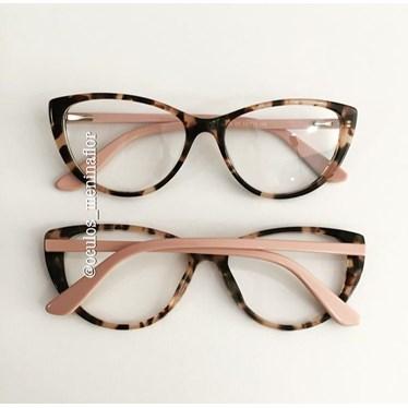 Armação de óculos de grau - Molly - Animal print haste rose