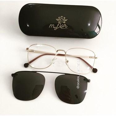 Armação de óculos de grau - OM88008 - Dourado lente preta