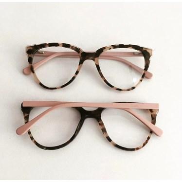 Armação de óculos de grau - Pamela 2181 - Animal print haste rose