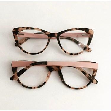Armação de óculos de grau - Paola 2142 - Animal print haste rose