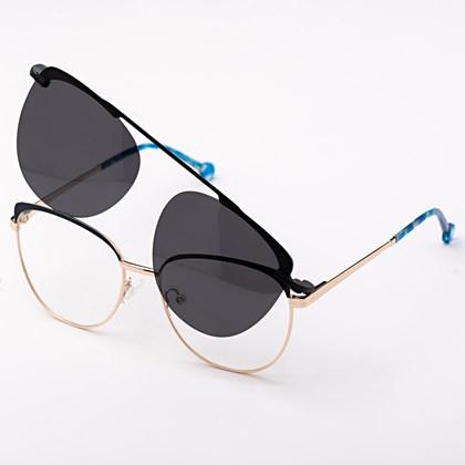 Armação de óculos de grau - Patricinha 2 em 1 - Azul escuro com dourado