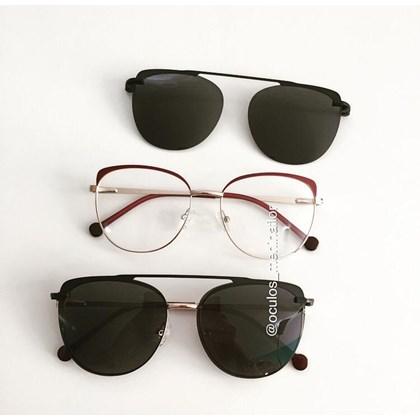 Armação de óculos de grau - Patricinha 2 em 1 - Bordo com dourado