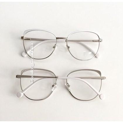 Armação de óculos de grau - Patricinha 2 em 1 - Branco com prata