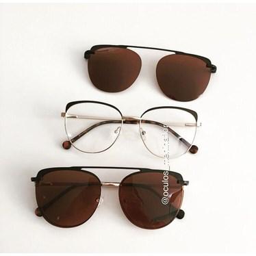 Armação de óculos de grau - Patricinha 2 em 1 - Marrom com dourado lente marrom C4