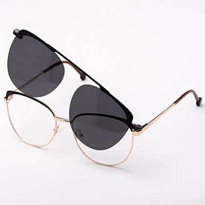 Armação de óculos de grau - Patricinha 2 em 1 - Preto com dourado C2