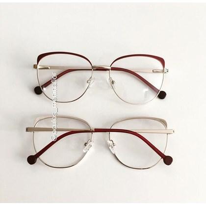 Armação de óculos de grau - Patricinha 2 em 1 - Vinho com dourado