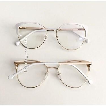 Armação de óculos de grau - Patricinha - Branco com dourado