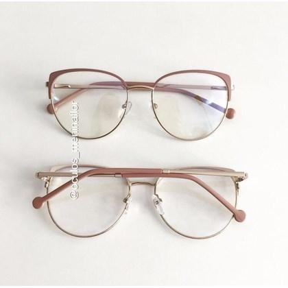 Armação de óculos de grau - Patricinha Fit - Rose com dourado
