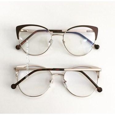 Armação de óculos de grau - Patricinha - Marrom com dourado C2