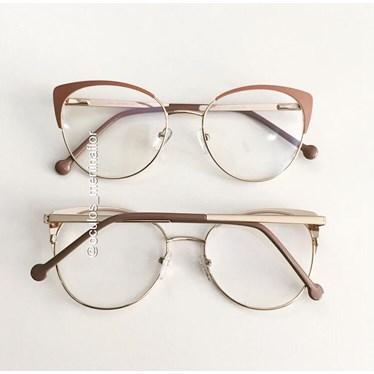 Armação de óculos de grau - Patricinha - Rose com dourado
