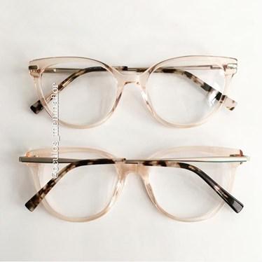 Armação de óculos de grau - Paty - Dourado Transparente