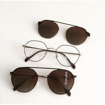 Armação de óculos de grau - Petit - Marrom com dourado lente marrom C2