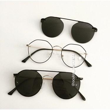 Armação de óculos de grau - Petit - Preto com dourado