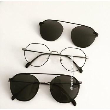 Armação de óculos de grau - Petit - Preto com prata C3