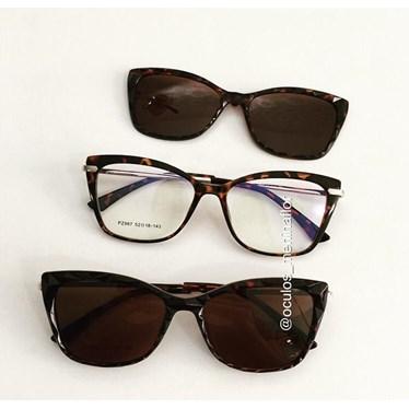 Armação de óculos de grau - Preciosa 2 em 1 - Animal print lente marrom