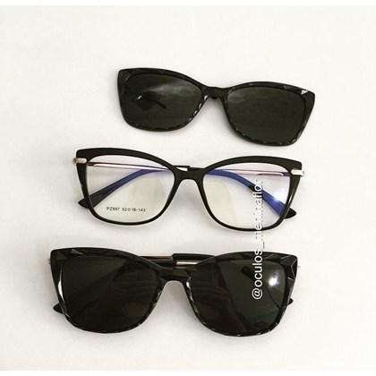 Armação de óculos de grau - Preciosa 2 em 1 - Preto