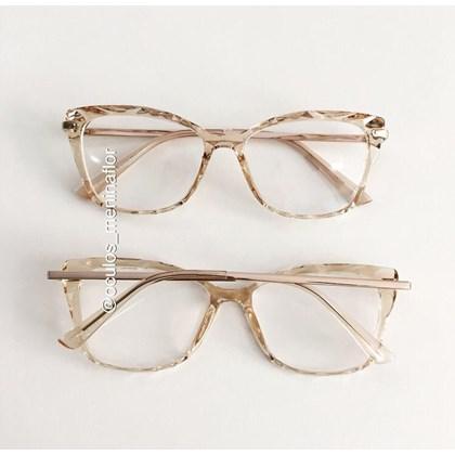 Armação de óculos de grau  - Preciosa - Dourado Transparente