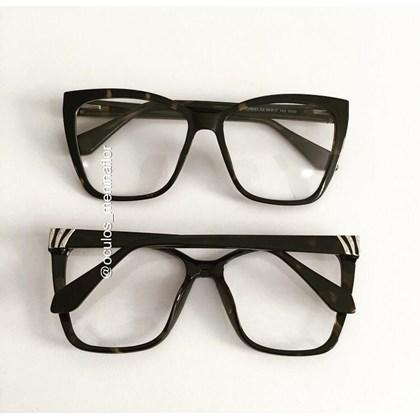 Armação de óculos de grau - Regina 8021 - Animal print lente marrom C2