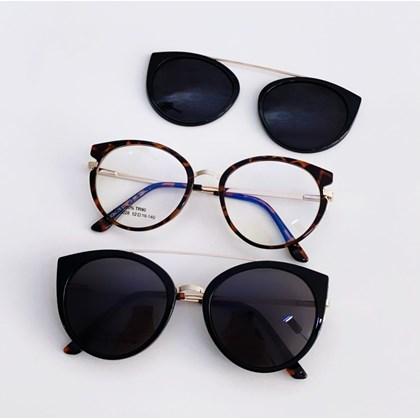 Armação de óculos de grau - Roberta 25028 - Animal Print clip on preto C5