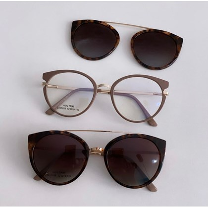 Armação de óculos de grau - Roberta 25028 - Nude clip on animal print C2