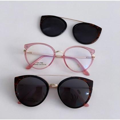 Armação de óculos de grau - Roberta 25028 - Rose transparência clip on animal print C3