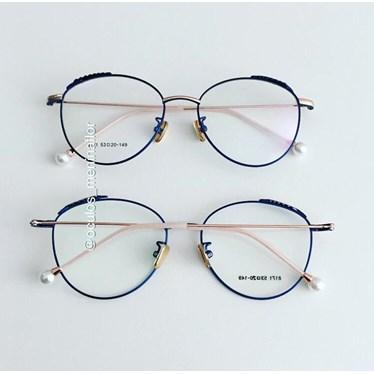 Armação de óculos de grau - Round Athenas - Azul com dourado