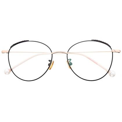 Armação de óculos de grau - Round Athenas - Preto com Rose Gold