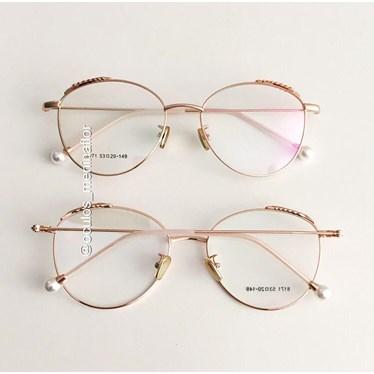 Armação de óculos de grau - Round Athenas - Rose Gold