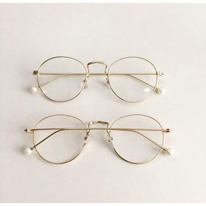 Armação de óculos de grau - Round Pérola - Dourado