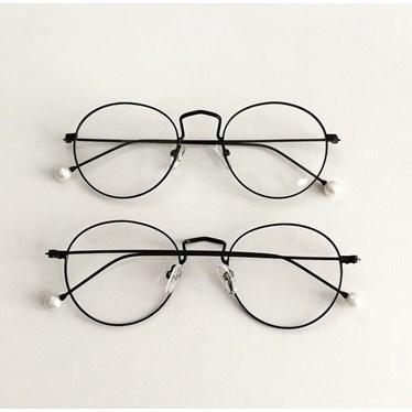 Armação de óculos de grau - Round Pérola - Preto