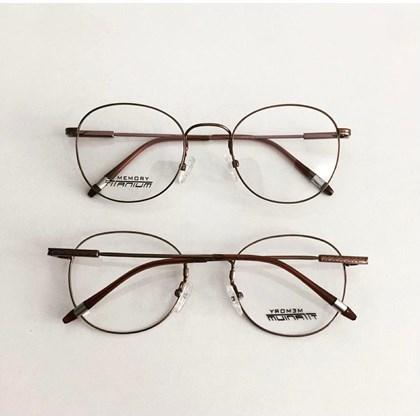 Armação de Óculos de Grau - Round Wave Titanium - Bronze
