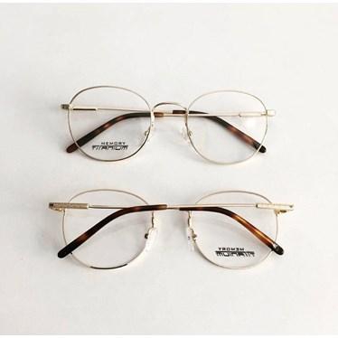 Armação de Óculos de Grau - Round Wave Titanium - Dourado Ouro