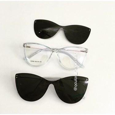 Armação de óculos de grau - Sarah 995 - Azul transparência lente preta