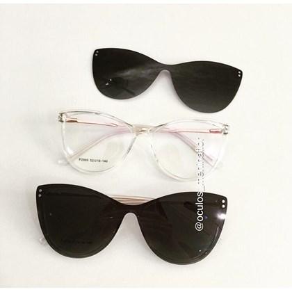 Armação de óculos de grau - Sarah 995 - Transparente lente preta