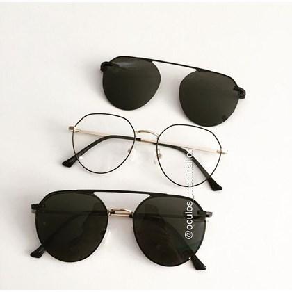 Armação de óculos de grau - Sereia 3046 - Preto com dourado