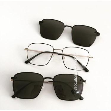Armação de óculos de grau - Sereia quadradinha - Preto com dourado C2