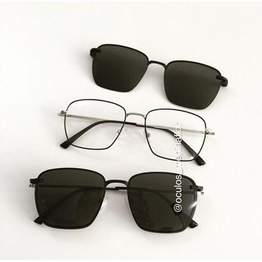 Armação de óculos de grau - Sereia quadradinha - Preto com prata C3